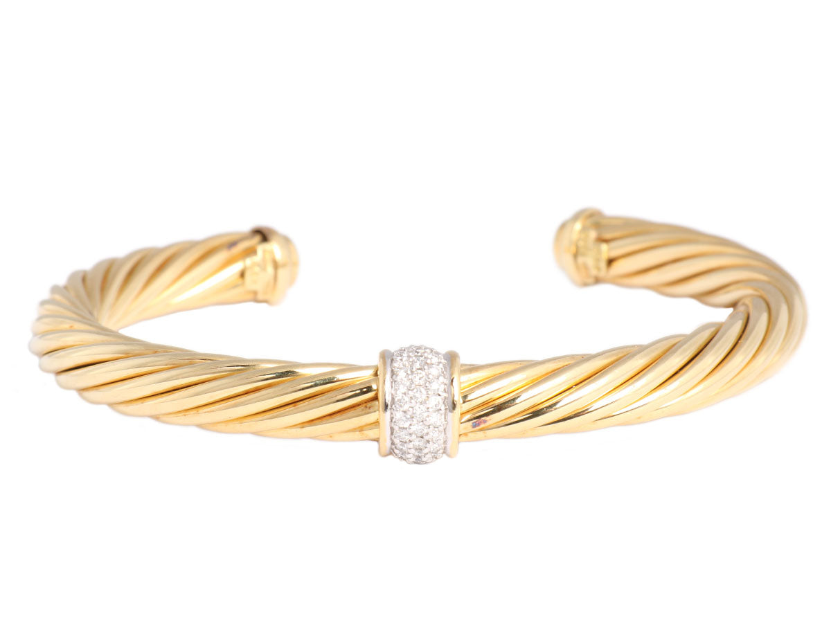 David Yurman Gold and Diamond Cable Bracelet