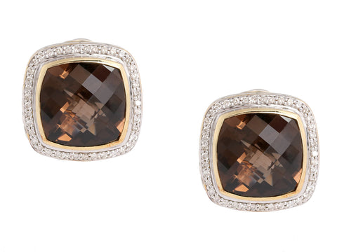 David Yurman Smoky Topaz and Diamond Albion Earrings