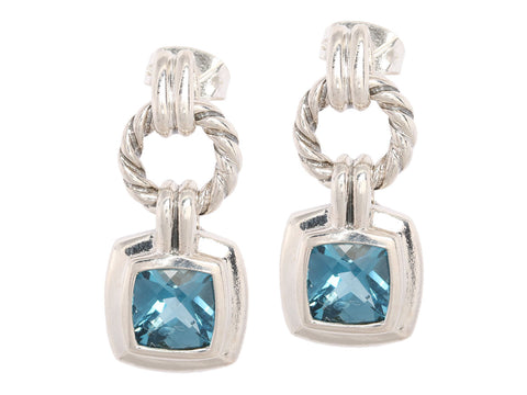 David Yurman Blue Topaz Renaissance Drop Earrings