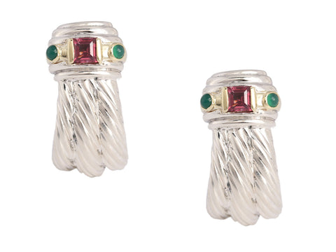David Yurman Garnet and Emerald Renaissance Earrings