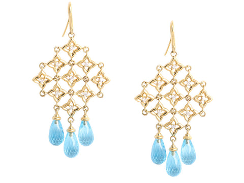 David Yurman Blue Topaz Quatrefoil Chandelier Drop Earrings