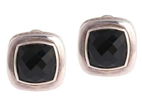David Yurman Sterling Silver and Onyx Albion Earrings