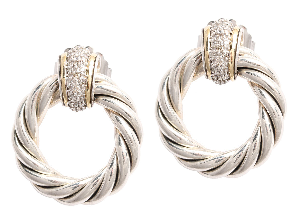 David Yurman Diamond Door Knocker Earrings