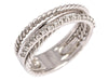 David Yurman Narrow Sterling Silver and Diamond Crossover Ring
