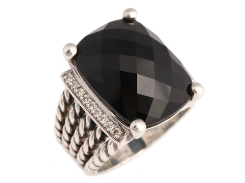 David Yurman Large Diamond and Black Onyx Wheaton Ring