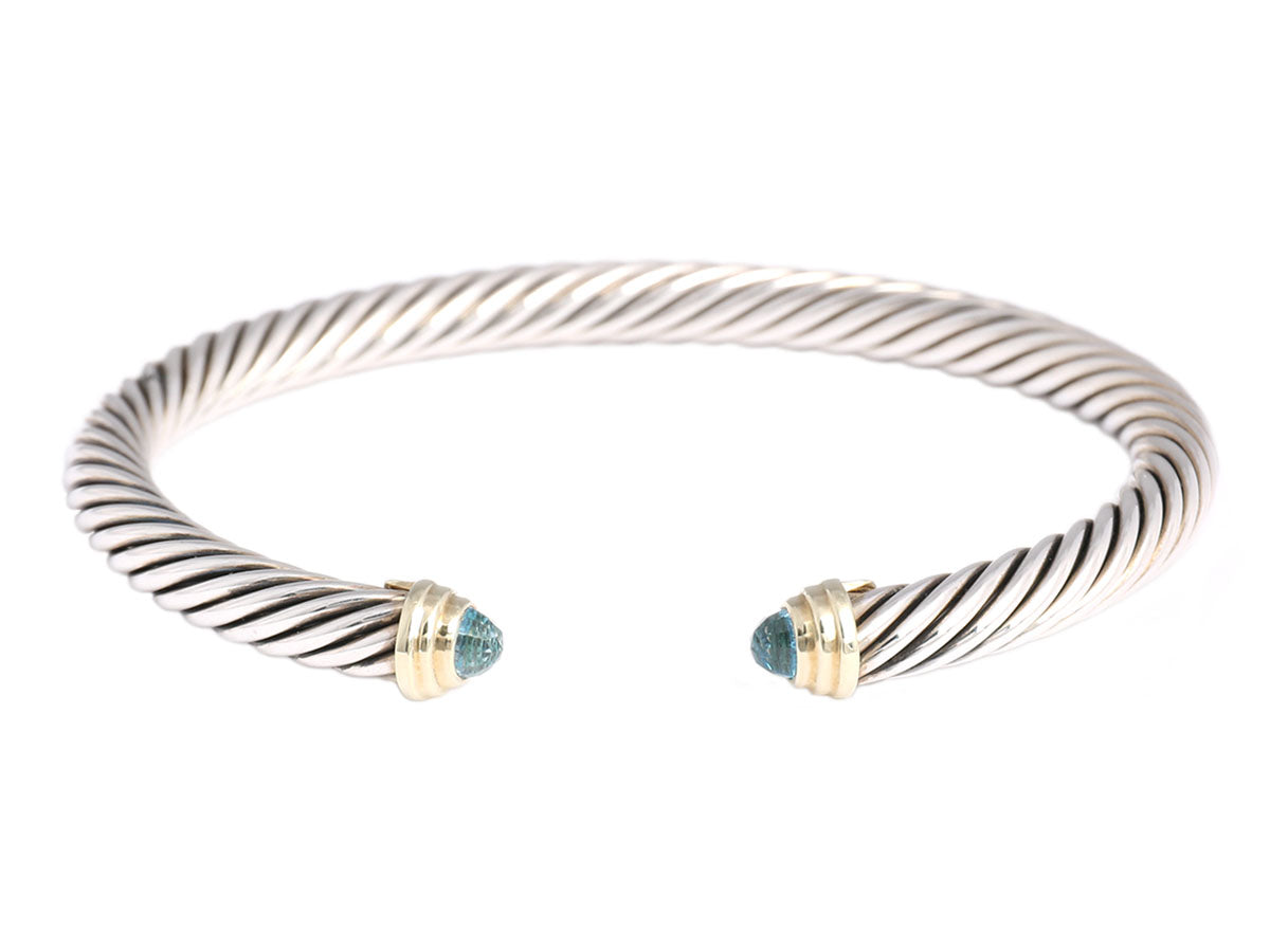 David Yurman Blue Topaz Sterling Silver and 14K Gold Cable Classics Bracelet
