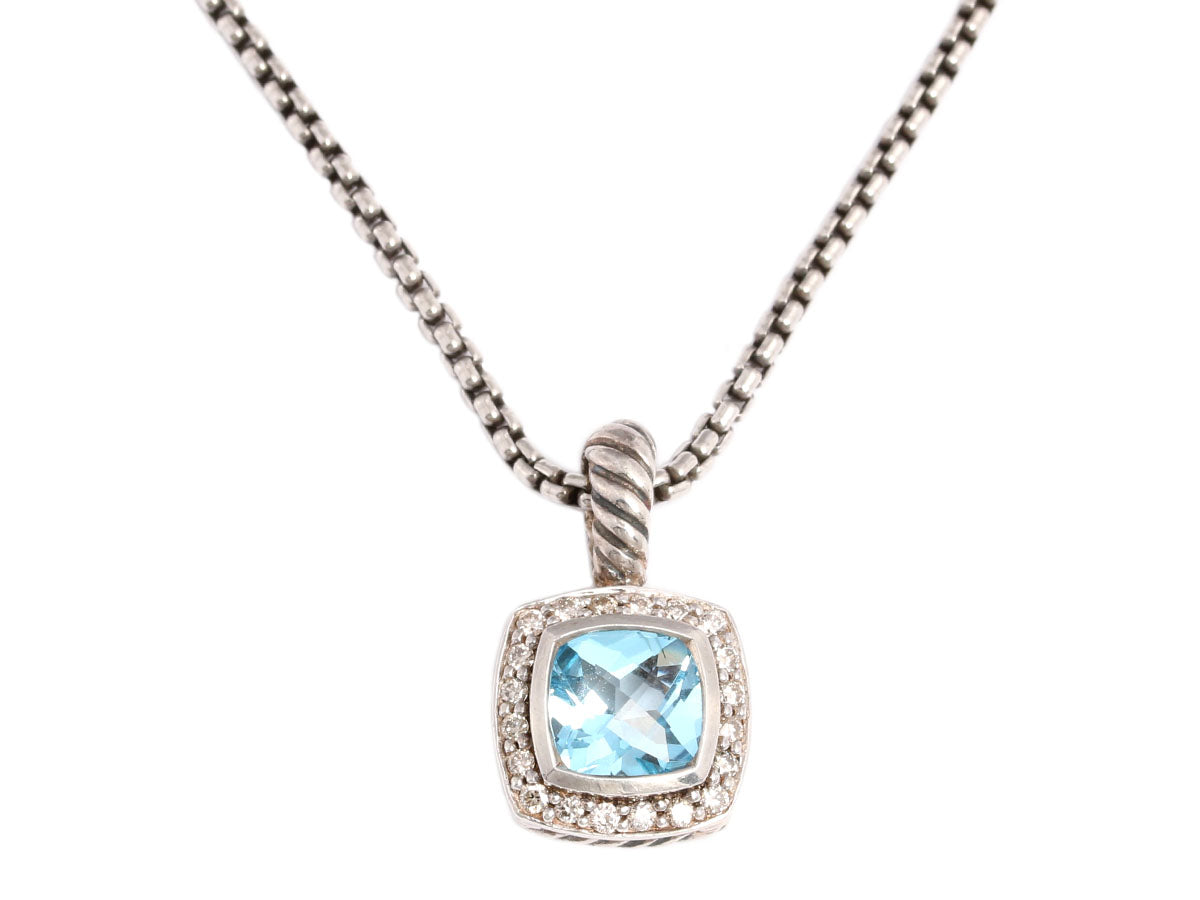 David Yurman Blue Topaz and Diamond Petite Albion Necklace
