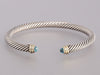 David Yurman Sterling and 14K Gold Blue Topaz Bracelet