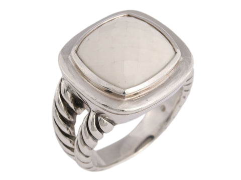 David Yurman Sterling Silver White Agate Albion Ring