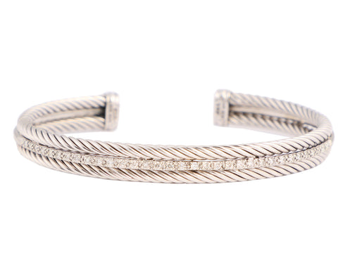 David Yurman 14K White Gold and Sterling Silver 3-Row Pavé Diamond Bracelet