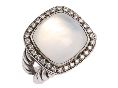 David Yurman Sterling Diamond Moonstone Moonlight Ice Ring