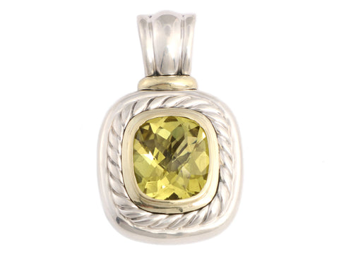 David Yurman Sterling Silver and Yellow Gold Lemon Citrine Enhancer 14mm