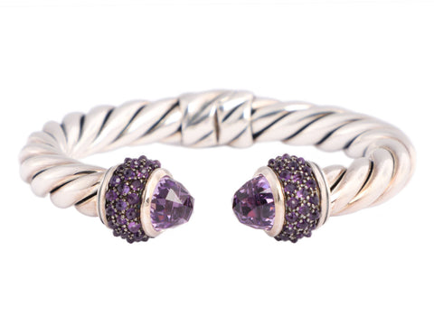 David Yurman Sterling Silver and Amethyst Osetra Cable Bracelet