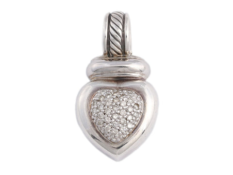 David Yurman Sterling Silver and Diamond Heart Enhancer