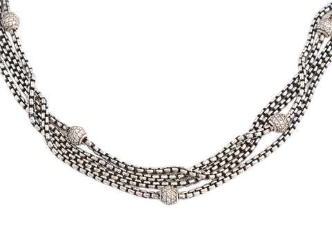 David Yurman 4-Row Sterling, Gold, and Diamond Ball Chain Necklace