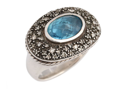 David Yurman Sterling Silver and Blue Topaz Midnight Mélange Ring