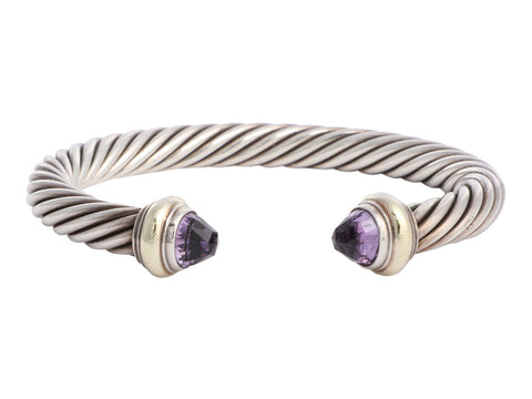 David Yurman Sterling Silver Amethyst Cable Classics Cuff 7mm