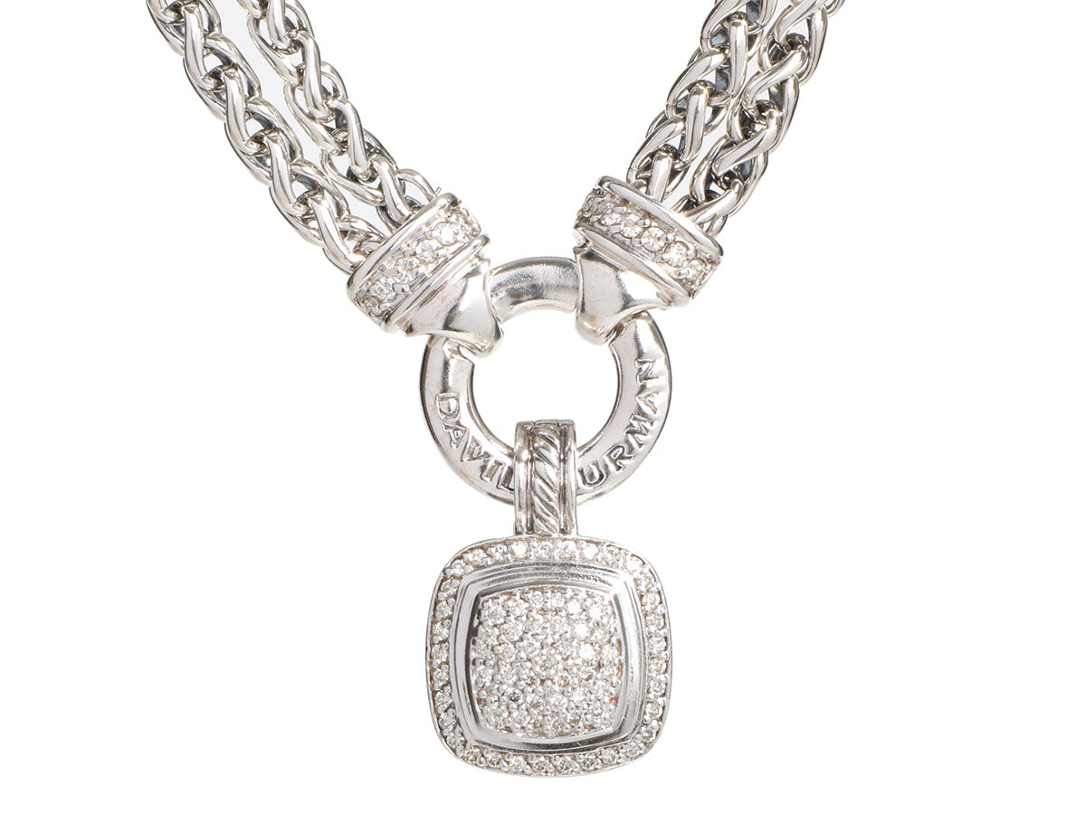 David Yurman Sterling Diamond Double Wheat Chain Pendant Necklace