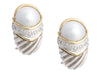 David Yurman Sterling Silver, 18K Yellow Gold, Diamond, and Pearl DY Capri Pierced Earrings