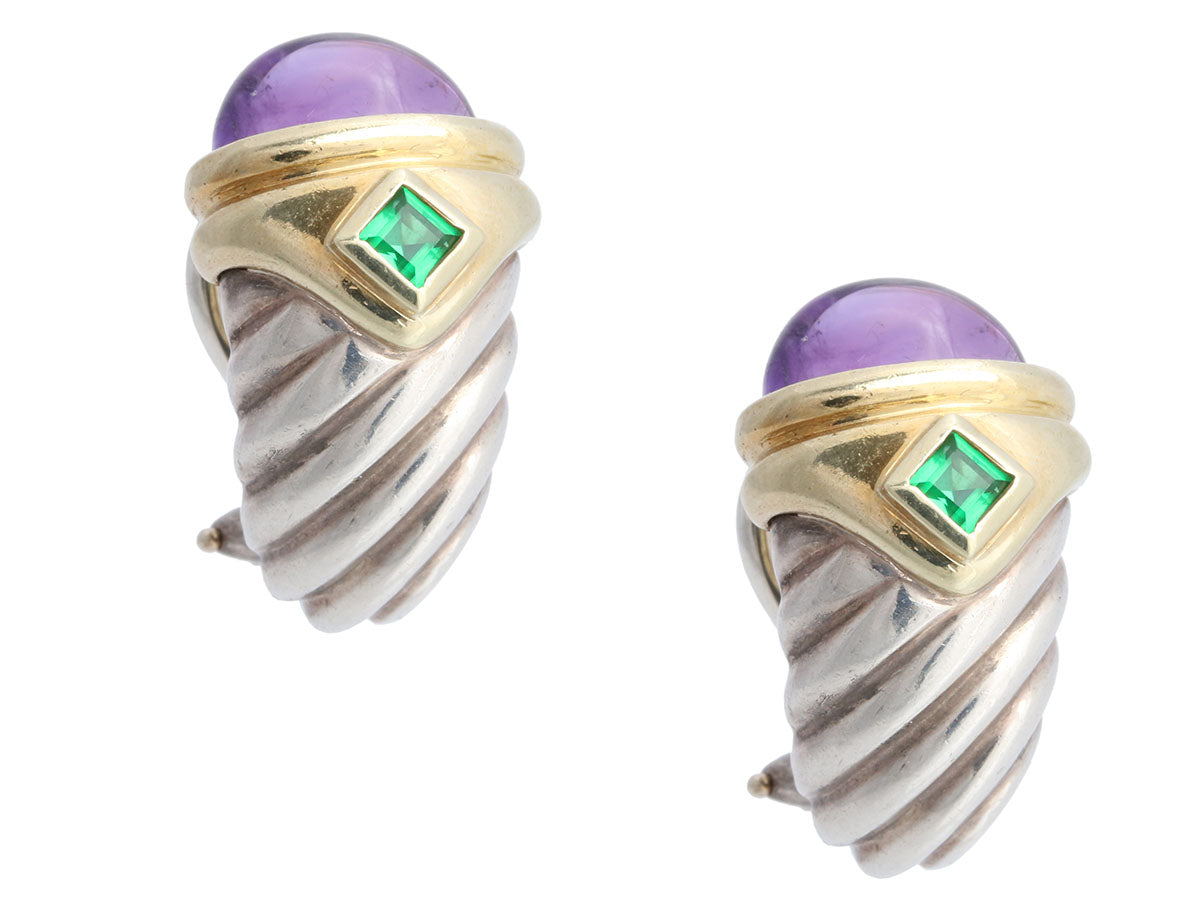David Yurman Sterling 14K Yellow Gold Emerald and Amethyst Renaissance Pierced Earrings