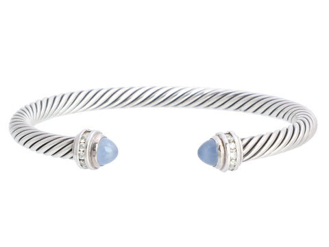 David Yurman Sterling Silver Diamond and Chalcedony Cable Classics Bracelet