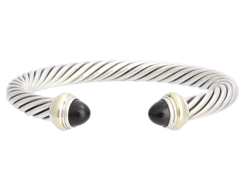 David Yurman Sterling Silver and 14K Yellow Gold Onyx Cable Classics Cuff 7mm