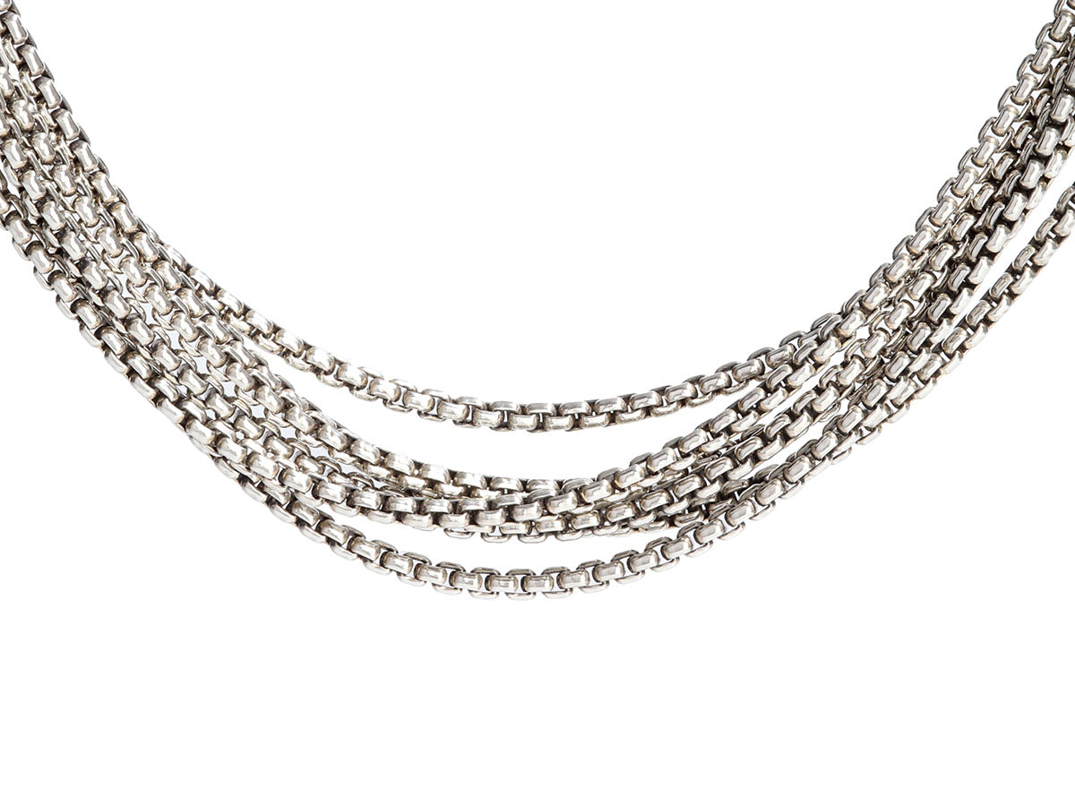 David Yurman Sterling Silver and 14K Yellow Gold Strand Necklace