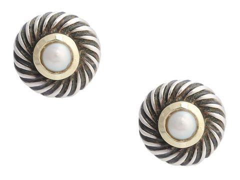 David Yurman Sterling Silver and 14K Yellow Gold Pearl Cookie Pierced Earrings