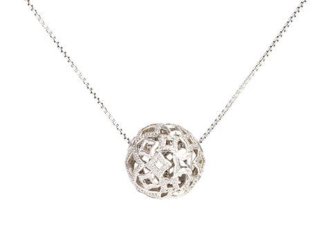 David Yurman Large Sterling Silver Diamond Quatrefoil Ball Necklace