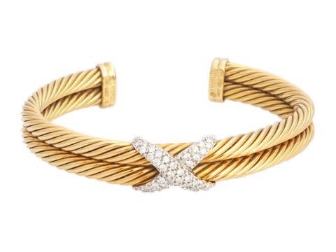 David Yurman 18K Yellow Gold Double Row Diamond X Bracelet