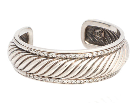 David Yurman Medium Sterling Silver Diamond Sculpted Cable Cuff