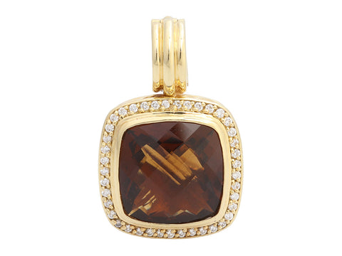David Yurman 18K Yellow Gold Smoky Quartz Diamond Enhancer