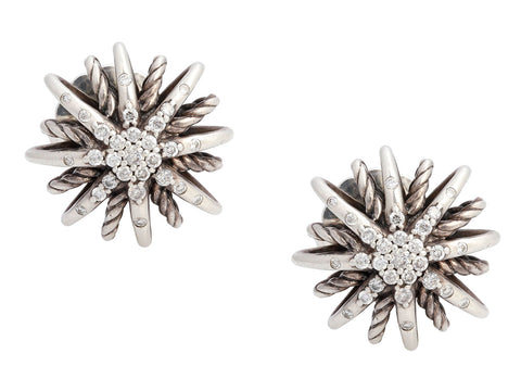 David Yurman Sterling Silver Diamond Starburst Pierced Stud Earrings