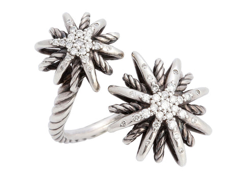 David Yurman Sterling Silver Diamond Starburst Open Ring