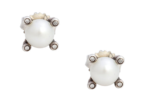 David Yurman Small Sterling Silver Diamond and Pearl Pierced Stud Earrings