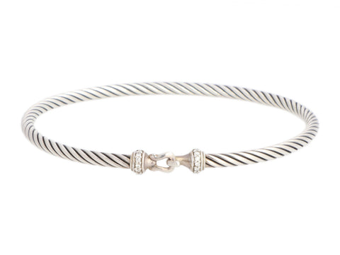 David Yurman Sterling Silver Petite Pavé Diamond Buckle Bracelet