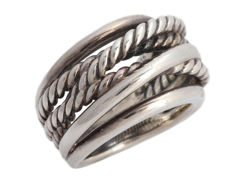 David Yurman Sterling Silver Crossover Band Ring