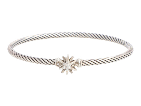 David Yurman Sterling Silver Starburst One-Station Diamond Bracelet