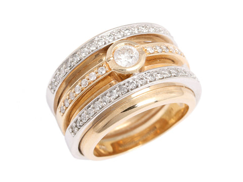 Effy Wide Two-Tone Gold and Diamond Band