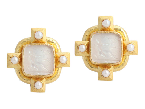 Elizabeth Locke 19K Yellow Gold Archer Intaglio Convertible Earrings