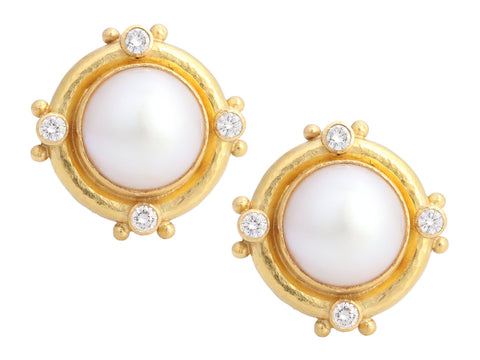 Elizabeth Locke 19K Yellow Gold Mabe Pearl and Diamond Convertible Earrings