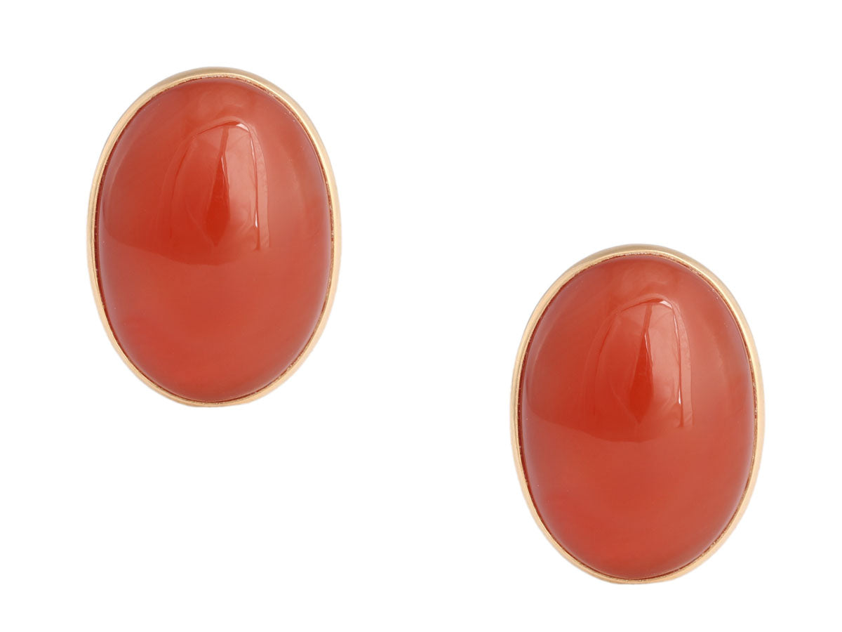 14K Yellow Gold Carnelian Earrings