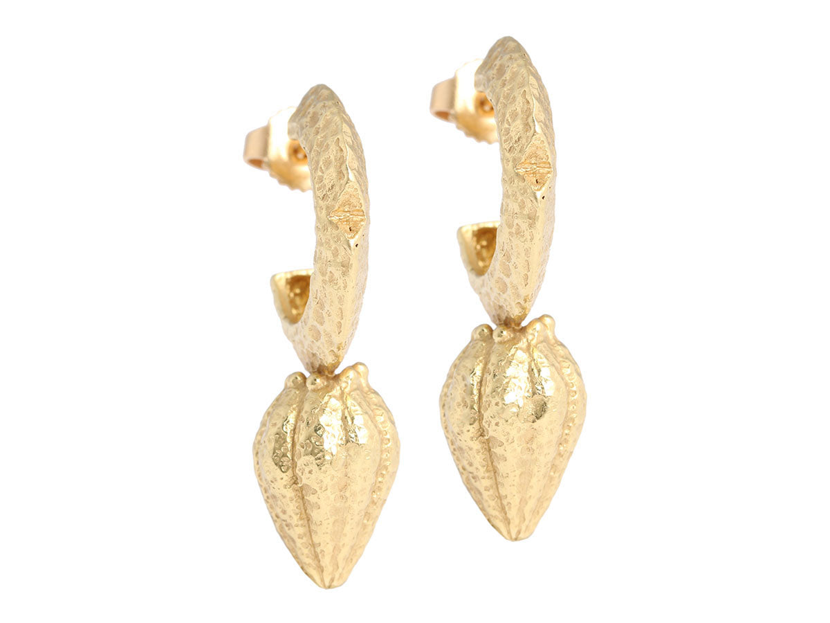18K Yellow Gold Hammered Hoop Earrings