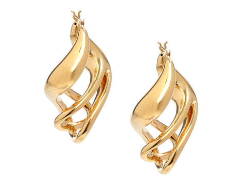 14K Yellow Gold Free-Form Pierced Earrings