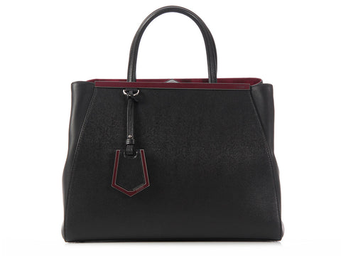 Fendi Medium Black and Burgundy 2Jours Shopper