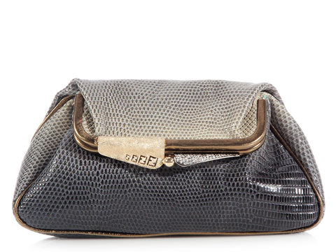 Fendi Gray Lizard Fold-Over Clutch