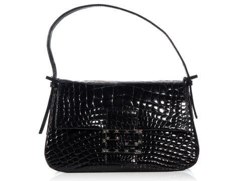 Fendi Glossy Black Alligator Mini Mama