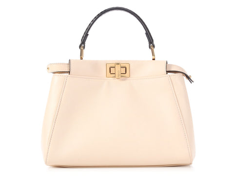 Fendi Cream Leather and Black Python Mini Monster Peekaboo