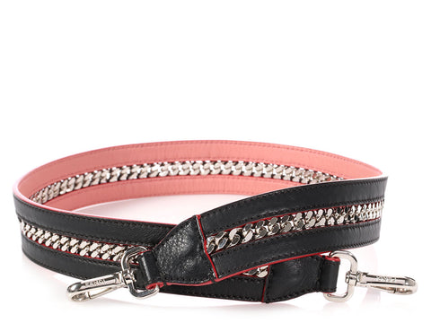 Fendi Black and Pink Chain Strap You Shoulder Strap