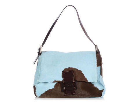 Fendi Blue and Brown Pony Hair Mamma Baguette